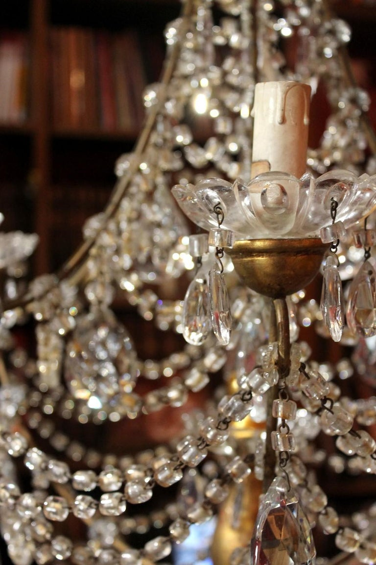 19th Century Italian Cut Crystal Beaded Gilt Iron Bird Cage Structure Chandelier For Sale 8