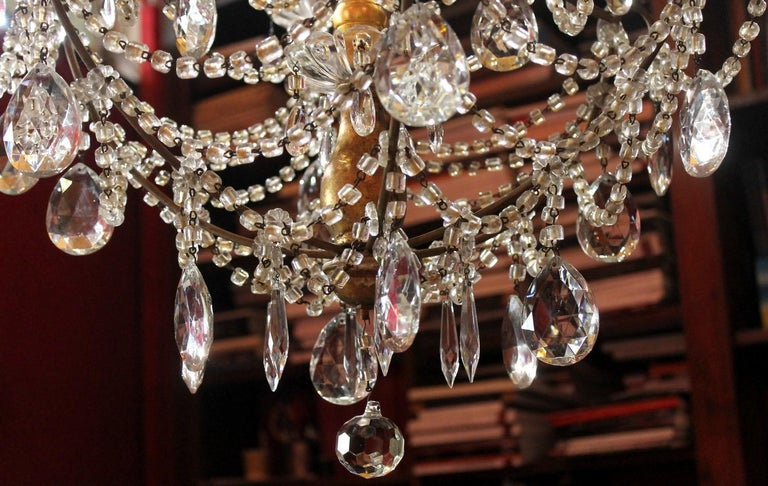 19th Century Italian Cut Crystal Beaded Gilt Iron Bird Cage Structure Chandelier For Sale 14