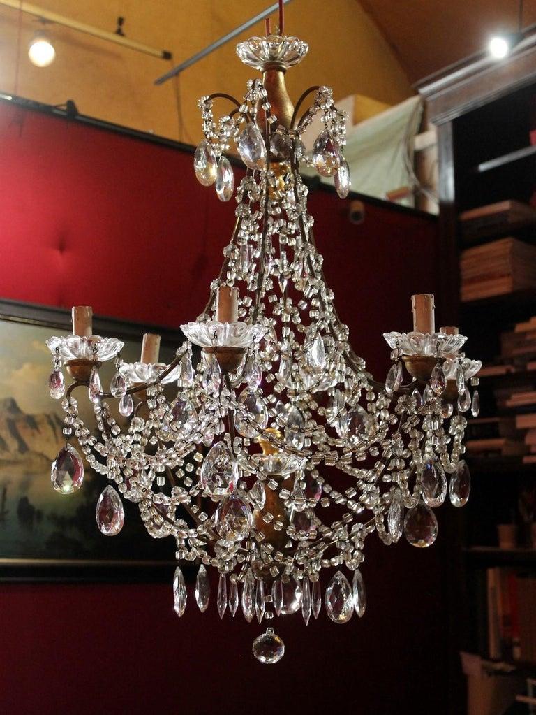 Louis XVI 19th Century Italian Cut Crystal Beaded Gilt Iron Bird Cage Structure Chandelier For Sale