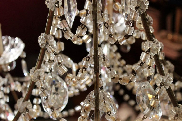 19th Century Italian Cut Crystal Beaded Gilt Iron Bird Cage Structure Chandelier For Sale 2