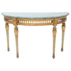 19th Century Italian Demilune Console with Marbleize Top in Robin's Egg Blue