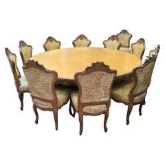 19th Century Italian Dining Room Set Consisting of 1 Round Table and 14 Chairs
