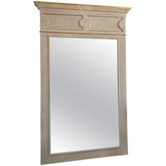 19th Century Italian Door Frame with Later Mirror Painted Gray with Gold Trim