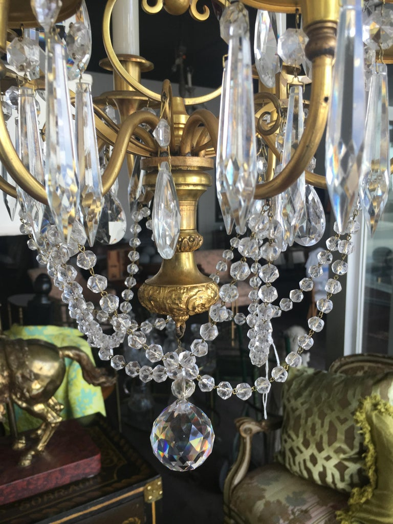 19th century Italian doré bronze and crystal chandelier with amethyst accents.