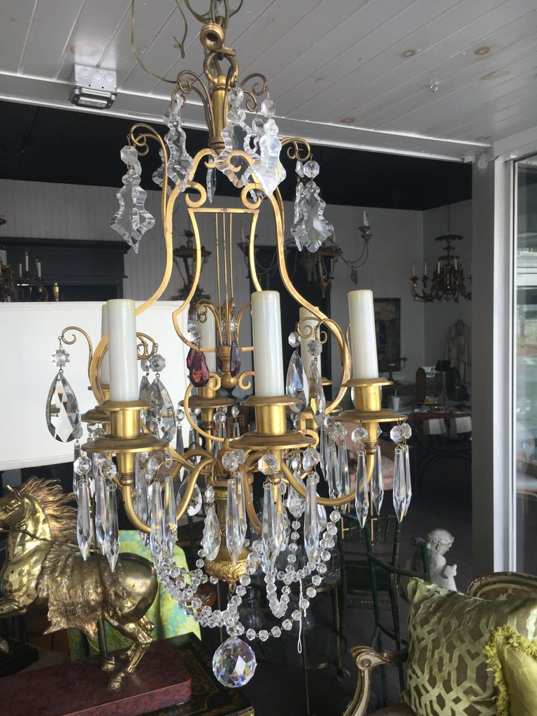 19th Century Italian Dore' Bronze and Crystal Chandelier with Amethyst Accents In Excellent Condition For Sale In Buchanan, MI