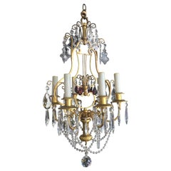 19th Century Italian Dore' Bronze and Crystal Chandelier with Amethyst Accents