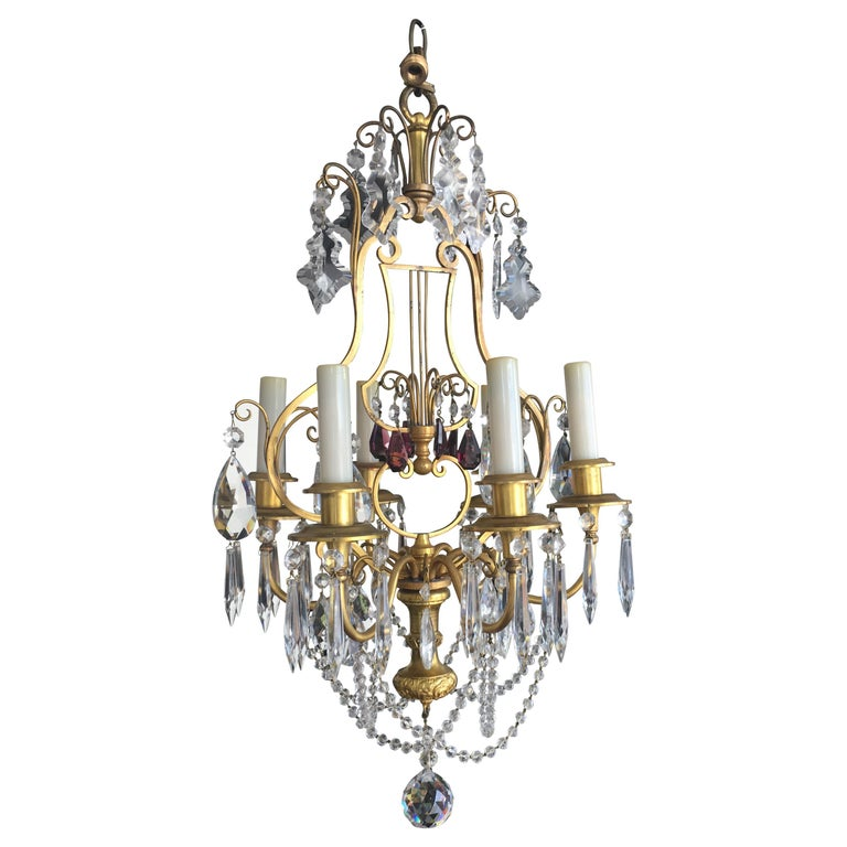 19th Century Italian Dore' Bronze and Crystal Chandelier with Amethyst Accents For Sale