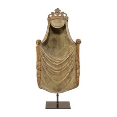 19th Century Italian Draped and Crowned Altarpiece on Custom Stand