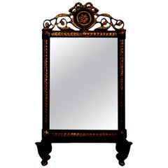 19th Century Italian Ebonized and Giltwood Mirror