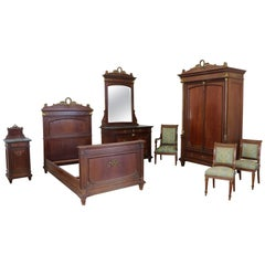 19th Century Italian Empire Mahogany Golden Bronzes Green Marbles Bedroom Set