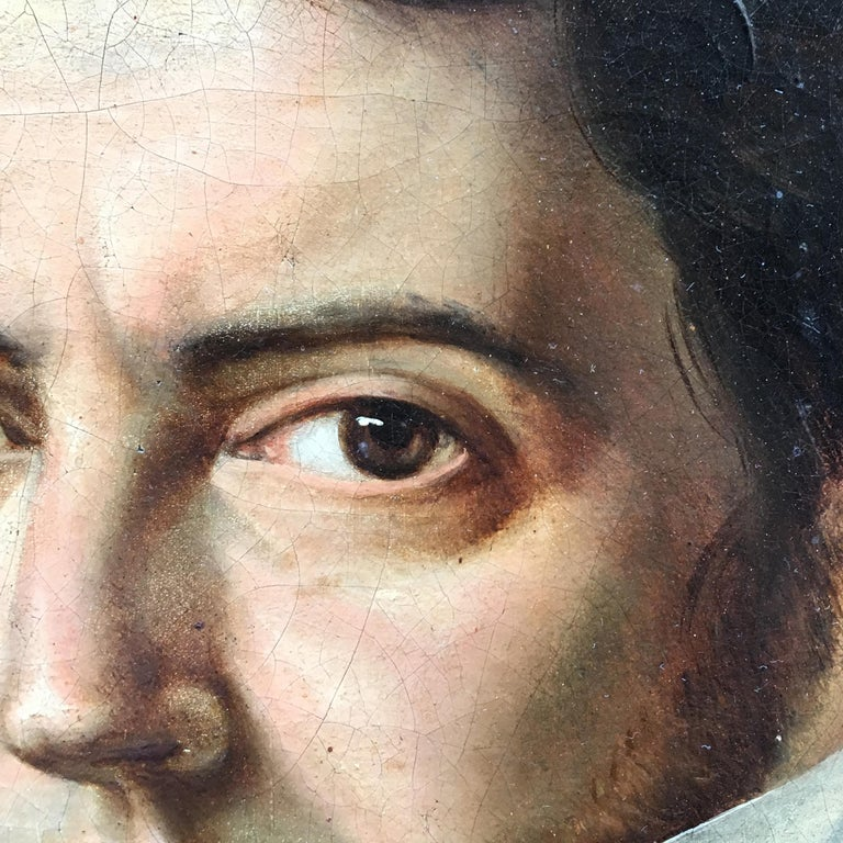 19th Century Italian Empire Oil on Canvas Portrait of a Young Gentleman In Good Condition For Sale In Firenze, Tuscany
