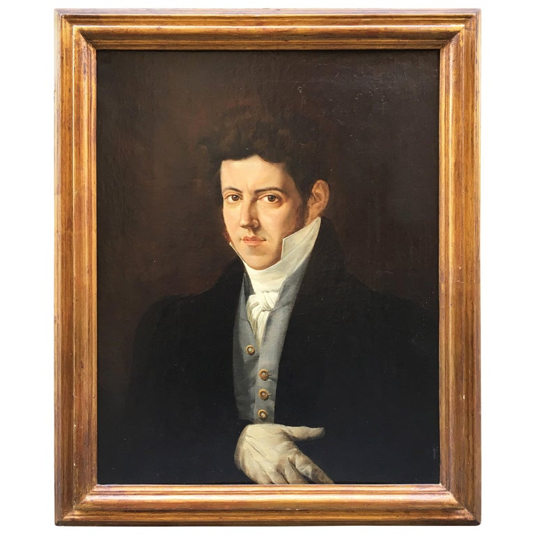 19th Century Italian Empire Oil on Canvas Portrait of a Young Gentleman For Sale