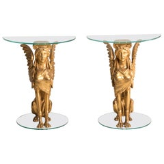 19th Century Italian Empire Period Giltwood Sphinxes Console Demilune Tables