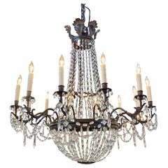 19th Century Italian Empire Style 12-Light Basket Chandelier