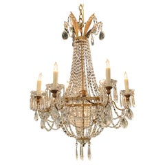 19th Century Italian Empire Style Gilt Metal and Crystal Chandelier