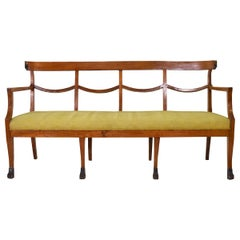 19th Century Italian Empire Walnut Bench with Egyptian Carving Influence