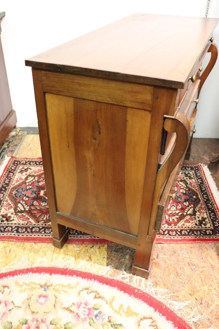 19th Century Italian Empire Walnut Commode or Chest of Drawers For Sale 4
