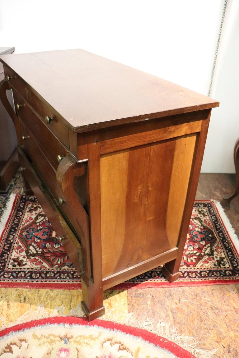 19th Century Italian Empire Walnut Commode or Chest of Drawers For Sale 5