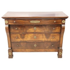 19th Century Italian Empire Walnut Commode or Chest of Drawers