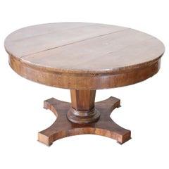 19th Century Italian Empire Walnut Round Extendable Antique Dining Room Table