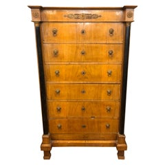 19th Century Italian Empire Wood Walnut Emilia Chest of Drawers, 1805s