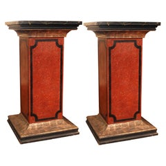 19th Century Italian Faux Marble Lacquer Architectural Pedestals or Columns