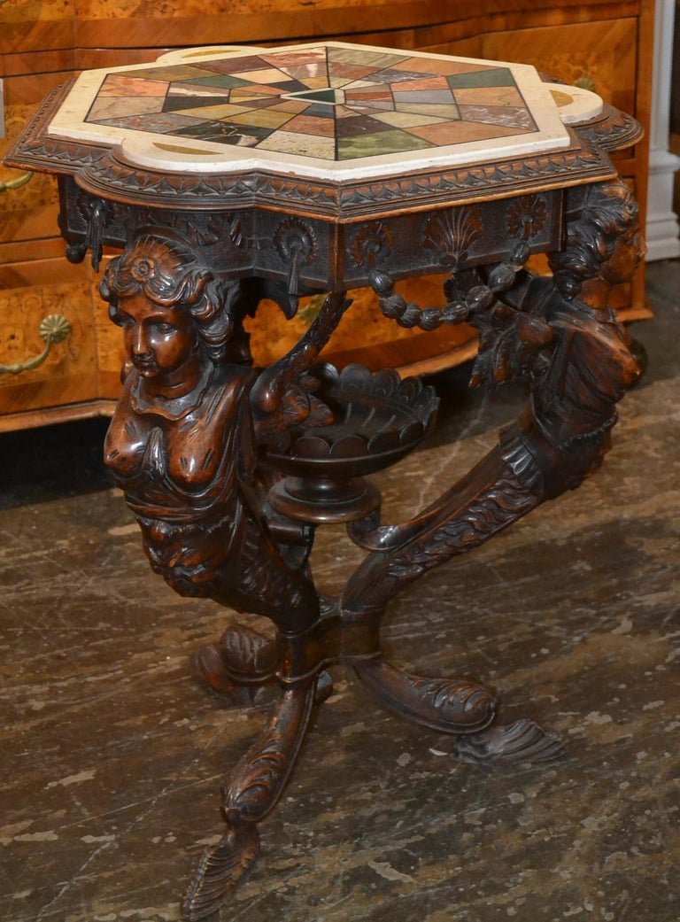 Mid-19th Century 19th Century Italian Figural Side Table with Specimen Marble For Sale