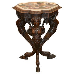 19th Century Italian Figural Side Table with Specimen Marble
