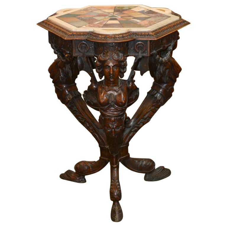 19th Century Italian Figural Side Table with Specimen Marble For Sale