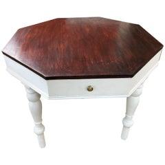 1870's  Italian Fir Octagonal Table Special Design Restored Wax Polished