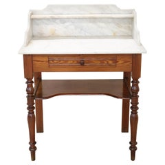 19th Century Italian Fir Wood Antique Vanity Table, Vanity Desk with Marble Top