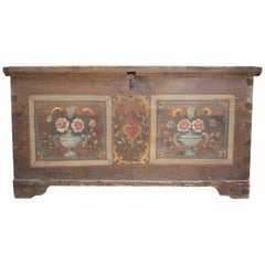 19th Century Italian Floral Painted Blanket Chest