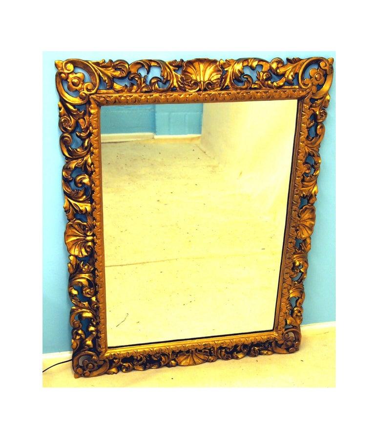 Victorian 19th Century Italian Florentine Giltwood Wall Mirror For Sale