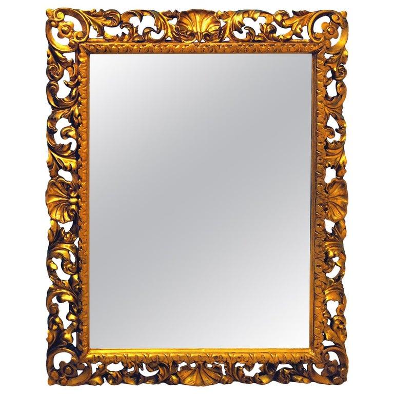 19th Century Italian Florentine Giltwood Wall Mirror For Sale