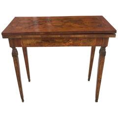 19th Century Italian Foldover Game Table Louis XVI Burl Console Tea Table