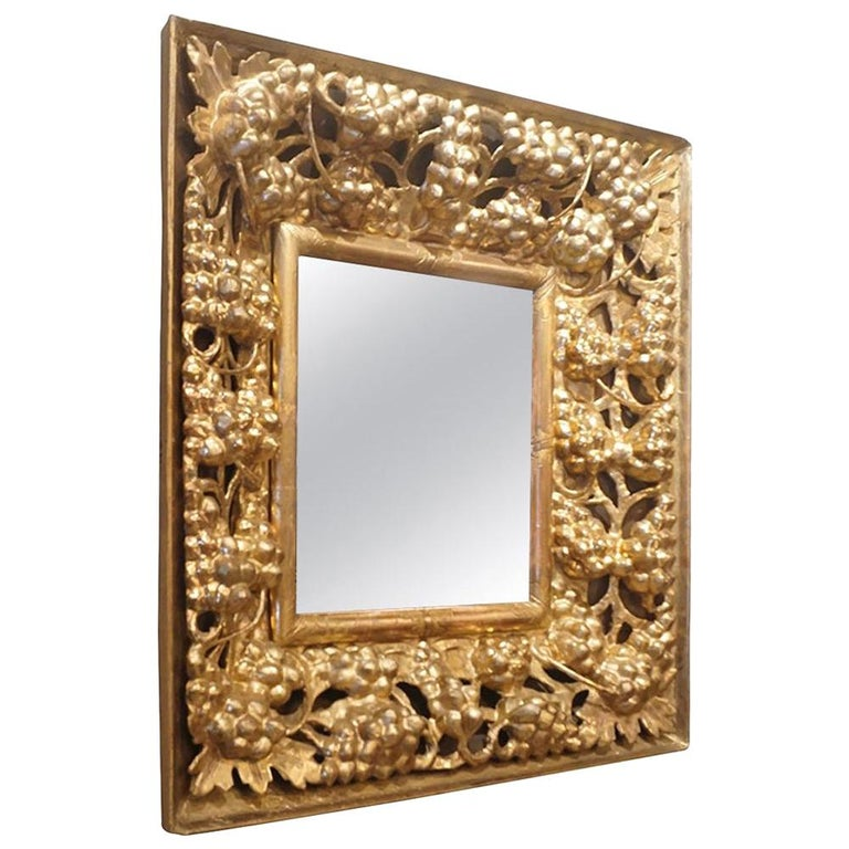 19th Century Italian Gilded Wood Wall Mirror For Sale