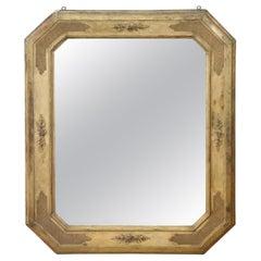 19th Century Italian Gilded Wood Wall Mirror with Original Mercury Mirror