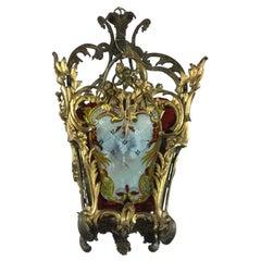 19th Century Italian Gilt Bronze Lantern with Lambrequin Decorated Glasses