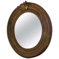 19th Century Italian Gilt Framed Oval Mirror, 1890s