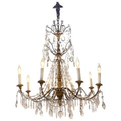 19th Century Italian Giltwood and Beaded Crystal Chandelier