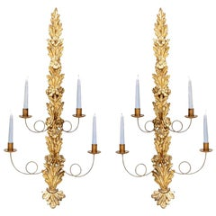 19th Century Italian Giltwood Candle Sconces