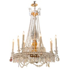 19th Century Italian Giltwood and Crystal 10-Light Chandelier