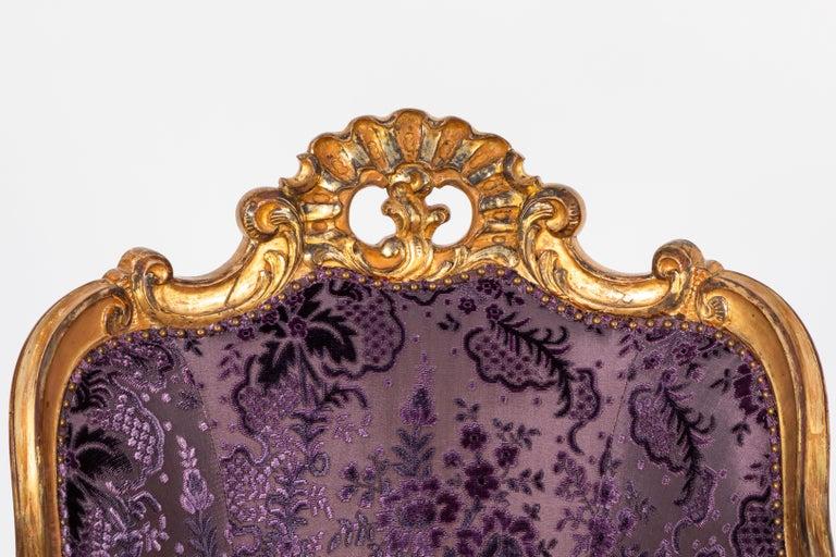 Hand-Carved 19th Century Italian Giltwood Armchair For Sale