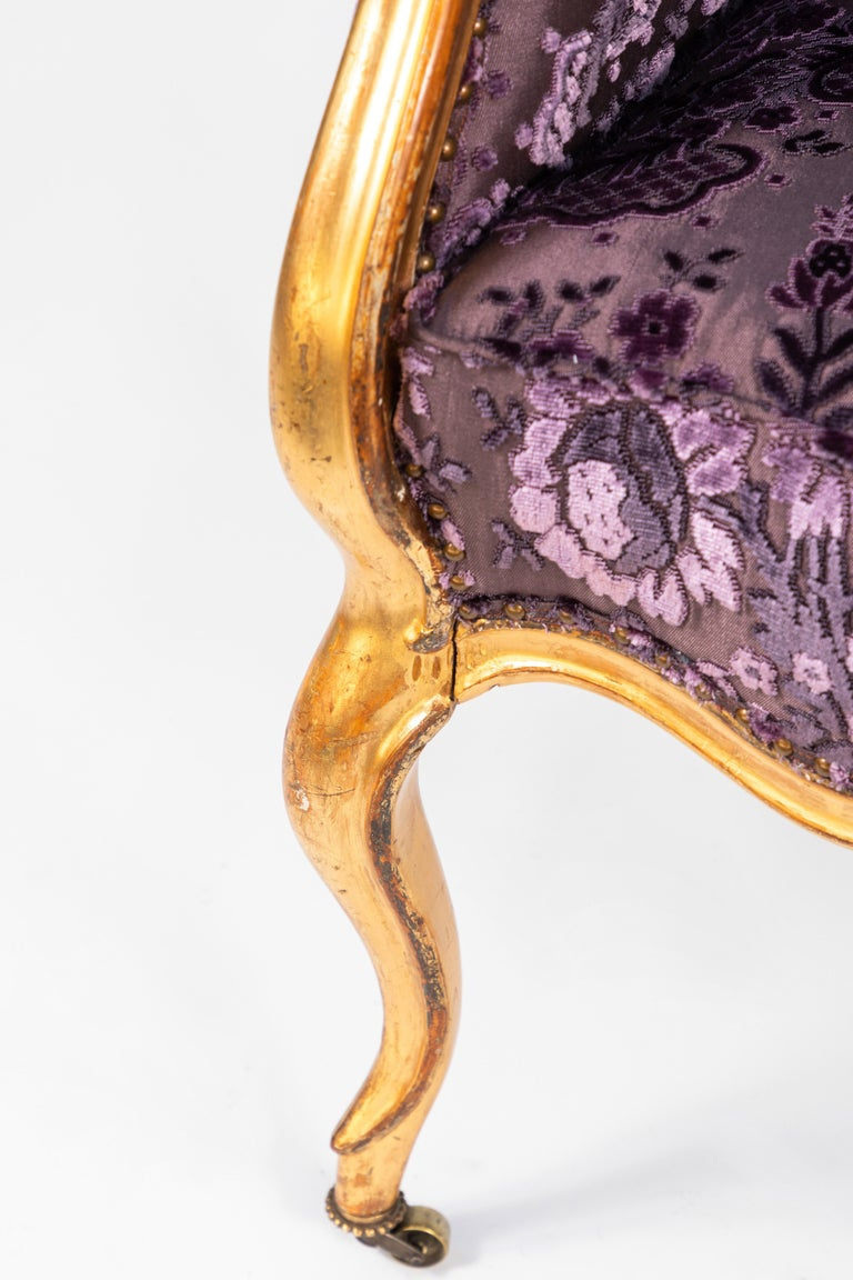 Velvet 19th Century Italian Giltwood Armchair For Sale
