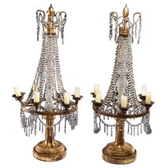 19th Century Italian Giltwood Candelabra Strung with Crystal Beads and Prisms