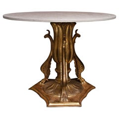 19th Century Italian Giltwood Center Table with Later Limestone Top