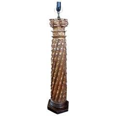 19th Century Italian Giltwood Corinthian Column Lamp