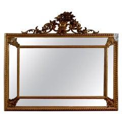 19th Century Italian Giltwood Mirror with Mirrored Panels Gold Rectangular