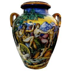 19th Century Italian Glazed Earthenware Urn Attributed to Urbino Workshop