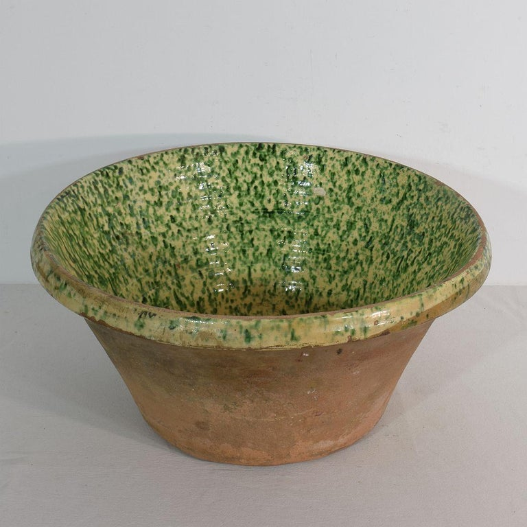 19th Century Italian Glazed Terracotta Dairy Bowl In Good Condition For Sale In Amsterdam, NL
